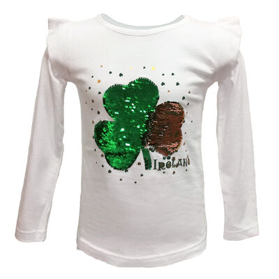 White Long Sleeve Girls T-Shirt With Green Sequin Shamrock Design