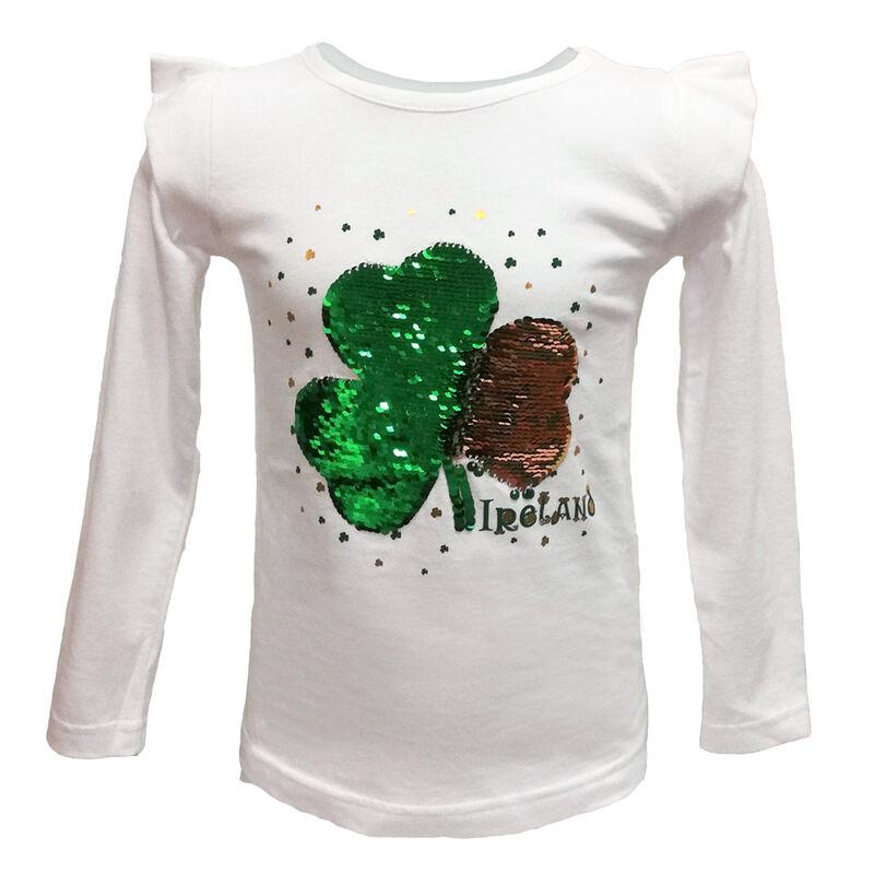 White Long Sleeve Girls T-Shirt With Green Sequin Shamrock Design