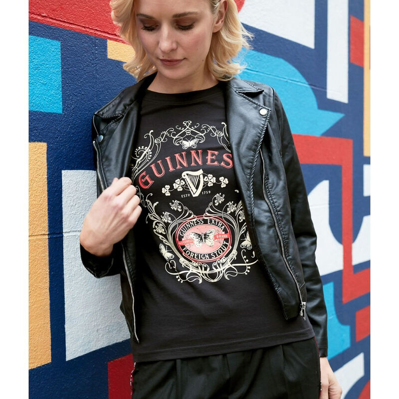 Guinness Ladies T-Shirt With Butterfly and Extra Foreign Stout Print  Black Colour