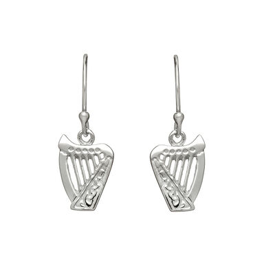 Hallmarked Sterling Silver Drop Earrings With Classic Irish Harp Shape Design
