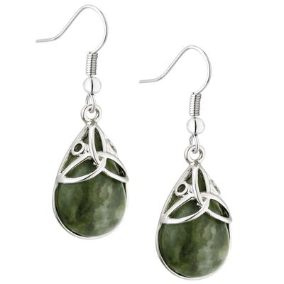 Connemara Marble Rhodium Plated Oval Marble Trinity Earrings