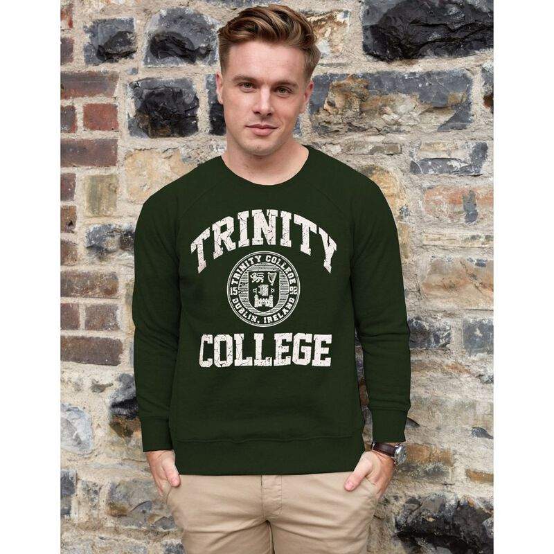 Trinity College Shirt With Trinity College Sign And Seal  Bottle Green Colour