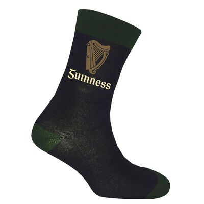 Black Guinness Socks With Bottle Green Trim  And Label Harp Design