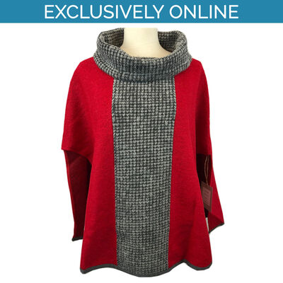 Yoko Wool Women's Poncho Mixed Red & Grey Colour Joan Collection