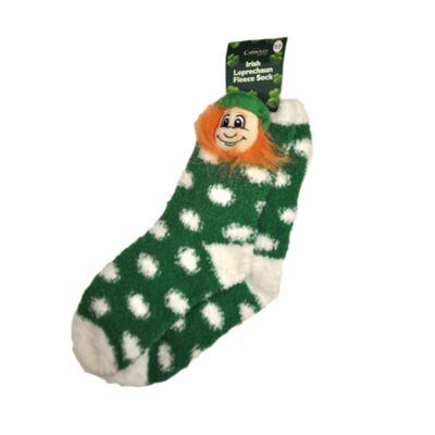 Green Fleece Socks With White Polka Dots and Soft Leprechaun Head