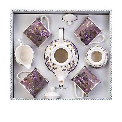 Newgrange Purple Thistle 7 Piece Bone China Tea Pot & Mug Set