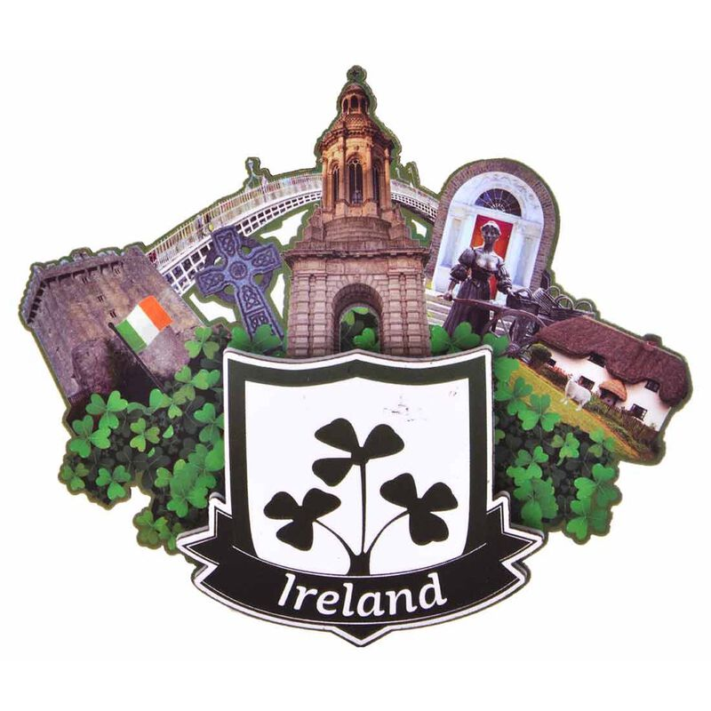 Ireland Wooden Magnet With Shield And Irish Landmarks Design