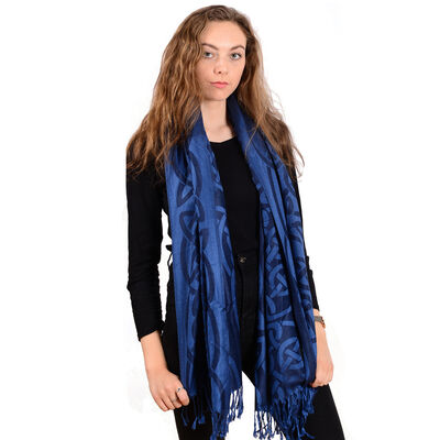 Traditional Pashmina Scarf With Celtic Knotwork Design, Navy Colour