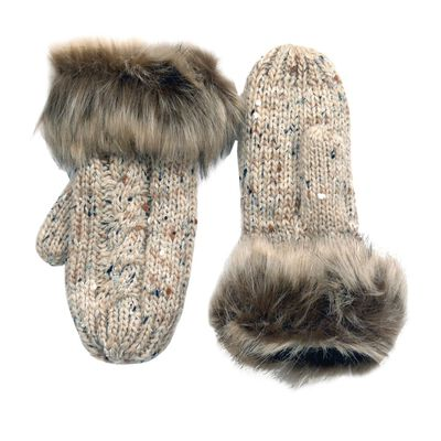 Traditional Aran Knit Patrick Francis Wool Fur Mittens  Oatmeal Colour
