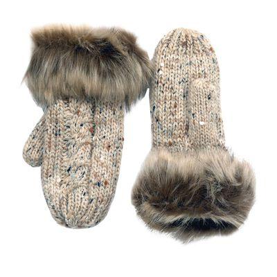 Traditional Aran Knit Patrick Francis Wool Fur Mittens  Oatmeal Colour