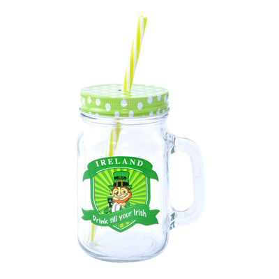 Glass Ireland Drink Till Your Irish Jar  Comes With Straw