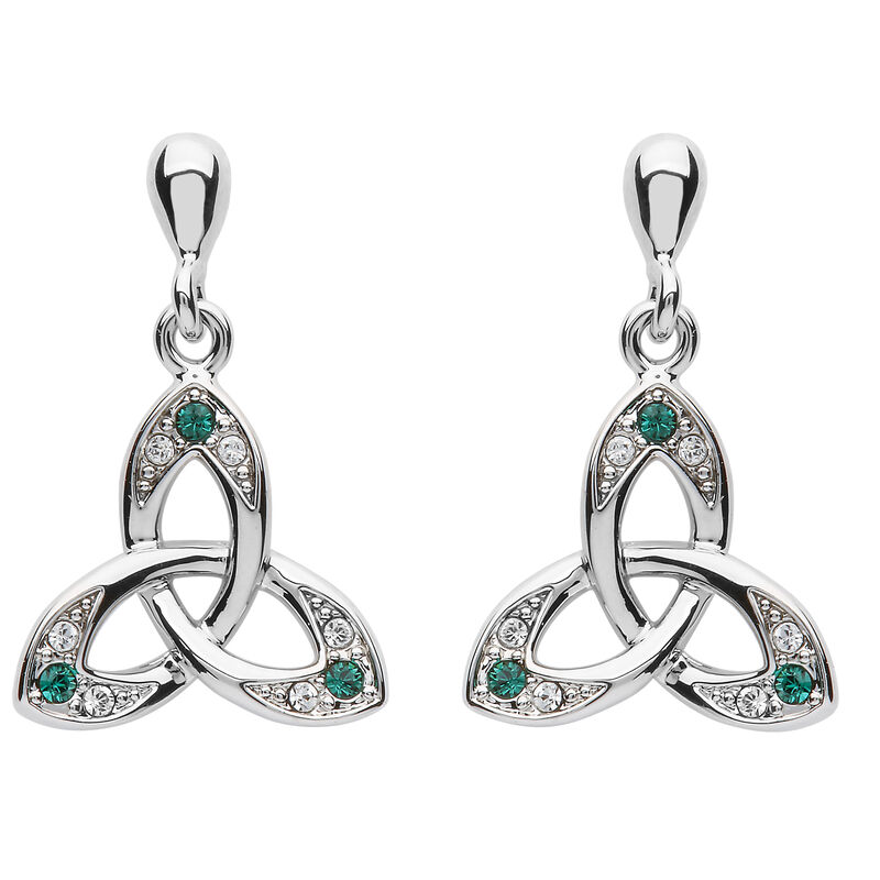 Platinum Plated Trinity Knot Drop Earrings With Green And Clear Swarovski Crystal