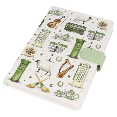 Impressions Of Ireland White And Green A5 Notebook With Irish Scenes Design