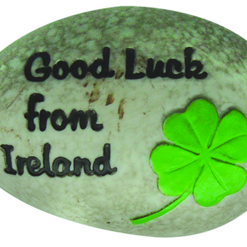 Round Good Luck From Ireland Stone With Black Text And Green Shamrock Design