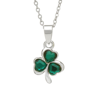 Silver Plated Shamrock Design Pendant Presented in a Gift Box