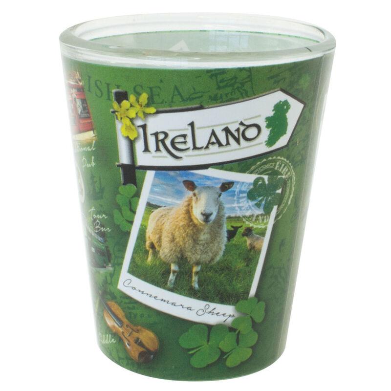 """""""Reiseziel Irland""""-Kollektion  Schnapsglas mit berühmten  irischen Sehenswürdigkeiten"""