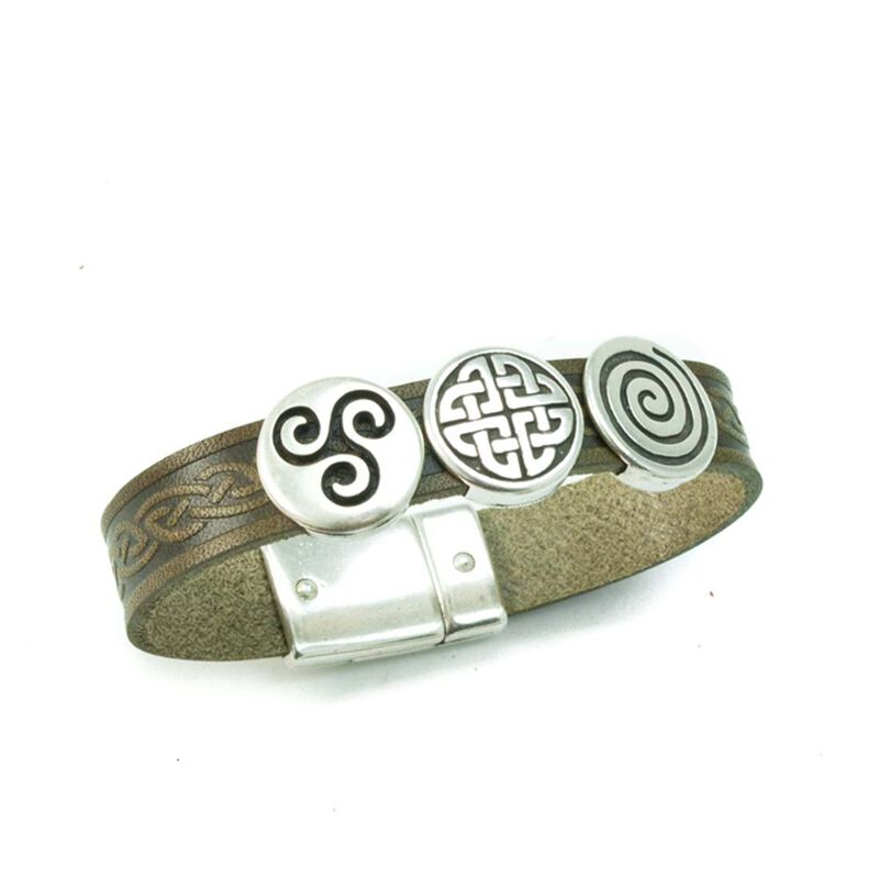 Lee River Aoife Cuff Celtic Cuff With 3 Charms  Green Colour