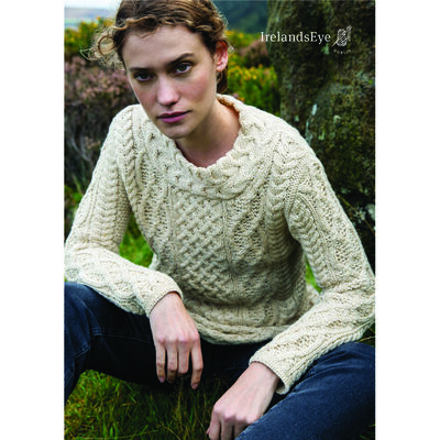 Spindle Aran Cable Merino Wool Neck Sweater, Oatmeal Marl Colour