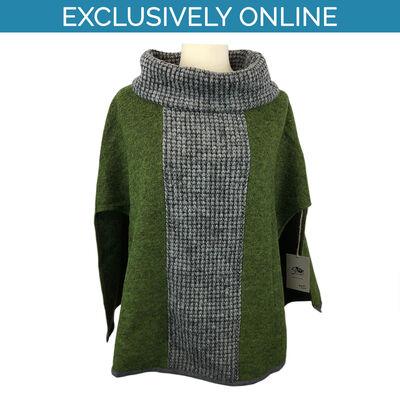 Yoko Wool Women's Poncho Green Colour Joan Collection 100% Wool