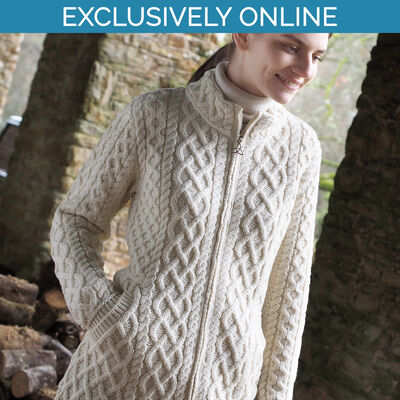 West End Knitwear Natural Colour Joyce Long Plated Coat 100% Merino Wool