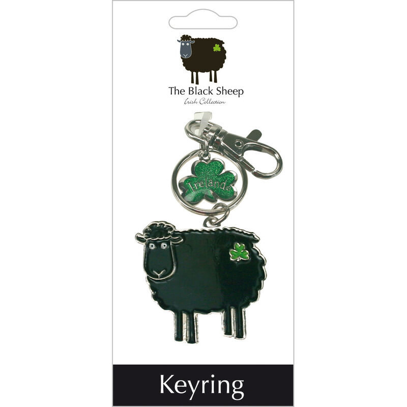 Metal Keychain With Flat Black Sheep And Green Shamrocks