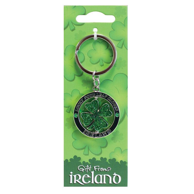 Lucky Irish Clover Spinner Keychain