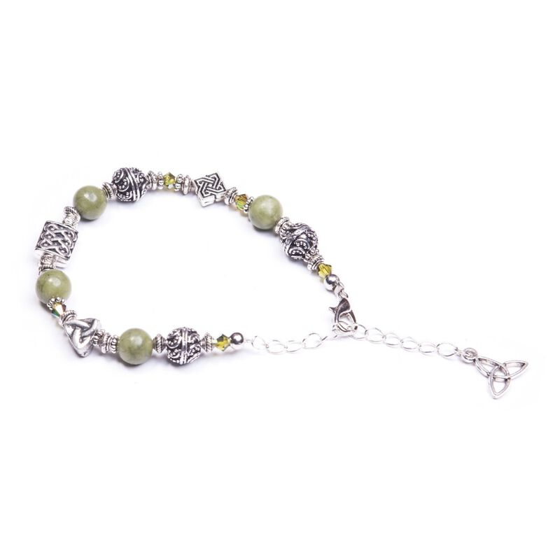 Connemara Marble Irish Symbols Bead Bracelet With Trinity Knot