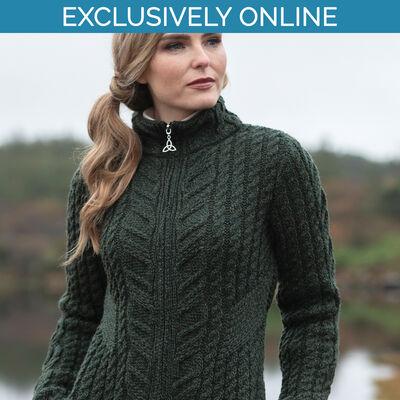 West End Knitwear Green Colour Kinsale Aran Zip Cardigan100% Merino Wool