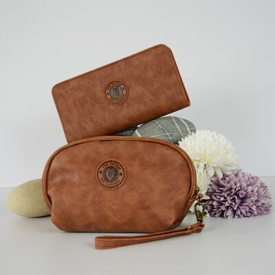 Ladies Leather Cosmetic Bag & Purse Gift Set
