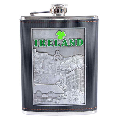 8oz Stainless Steel Ireland Designed Hip Flask With Leather Cover