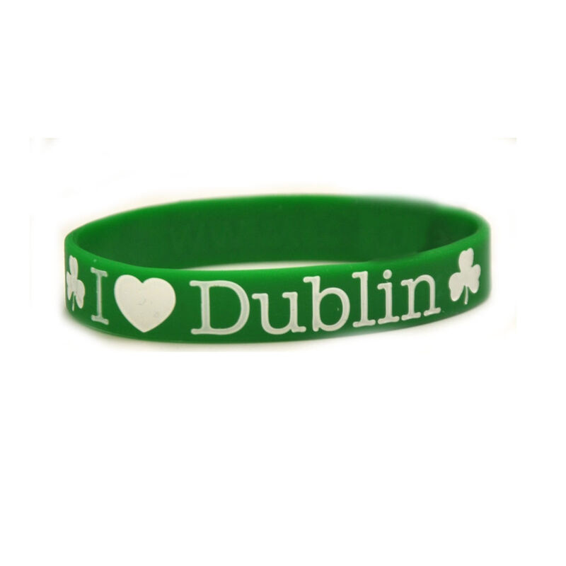 Silicone Wristband With I Heart Dublin And Shamrock Design  Green Colour