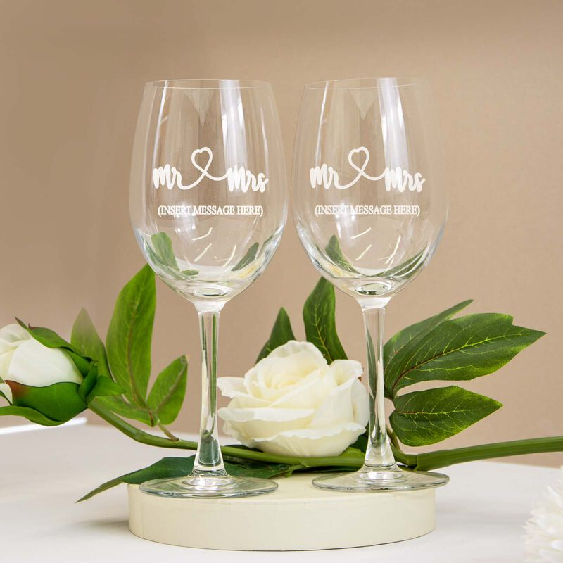 Personalised Wine Glass 2 Pack With Engraving and Gift Box