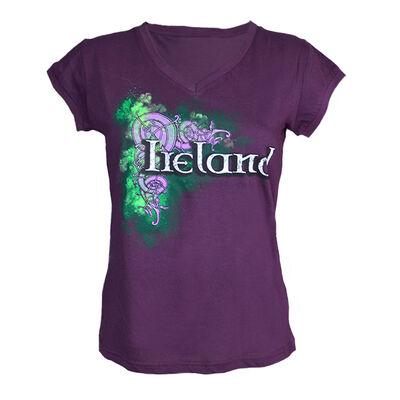 Purple Ladies V-Neck T-Shirt With Ireland Celtic Design
