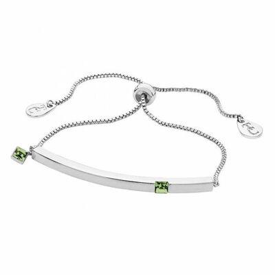 Tipperary Crystal August - Silver Bar Birthstone Bracelet - Peridot Crystal