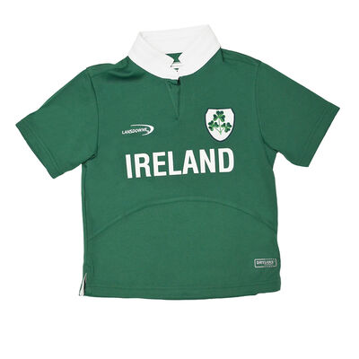 Ireland Shamrock Crest Design Kids Rugby Shirt  Green Colour