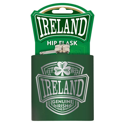 Ireland College 6oz Stainless Steel Green Hip Flask