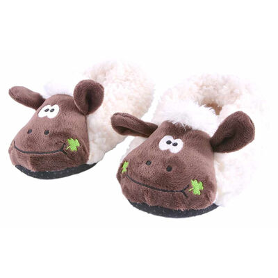 Super Cute Seamus The Sheep Kids Slippers With Shamrock Details