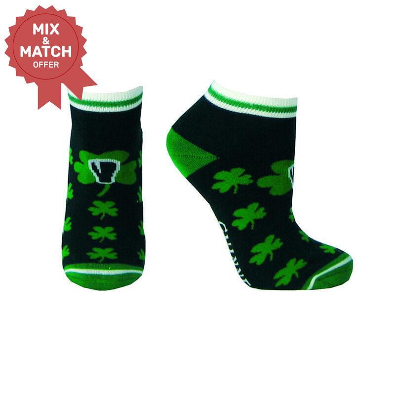 Black Guinness Ankle Style Socks With Green Shamrock Print