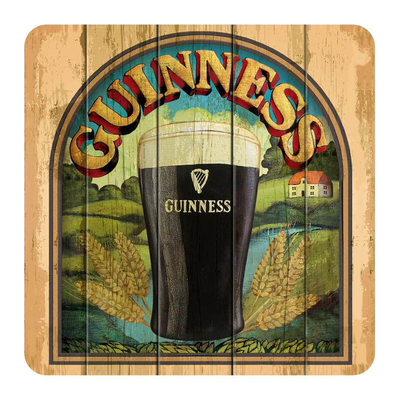 Nostalgic Guinness Coaster Taste of Ireland with Guinness Pint and Irish Scenery