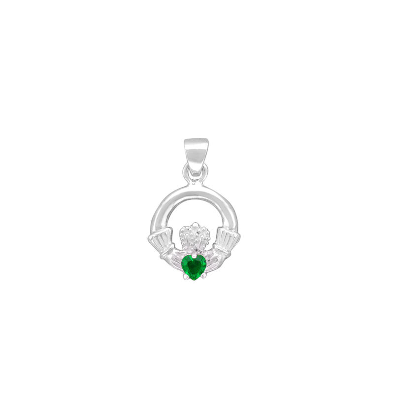Hallmarked Sterling Silver Claddagh Pendant With Emerald Cubic Zirconia Stone