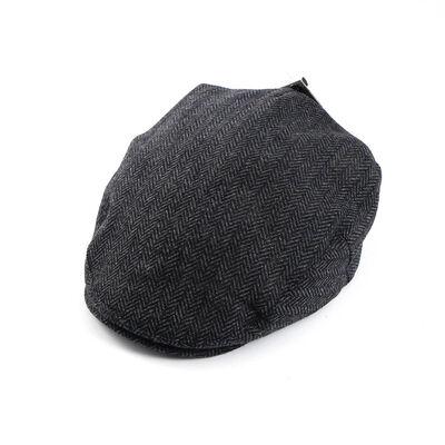 Celtic Ore Authentic Irish Designed Tweed Herringbone Flat Cap  Grey Colour