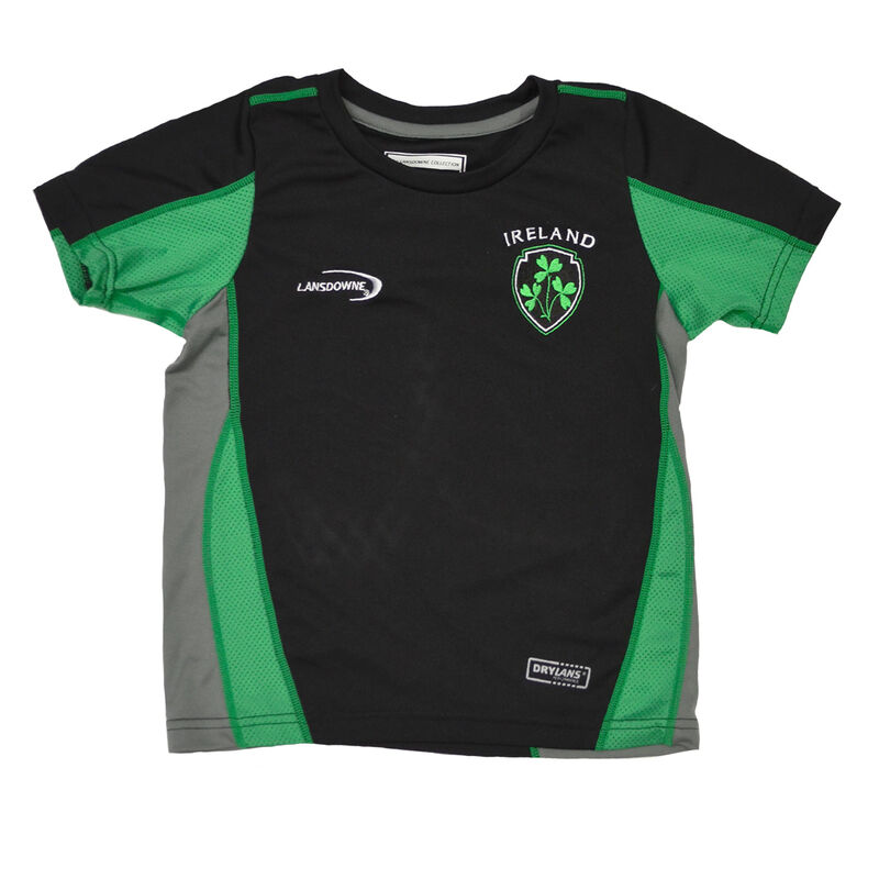 Black Kids Irish Performance T-Shirt With Shamrock Crest Design