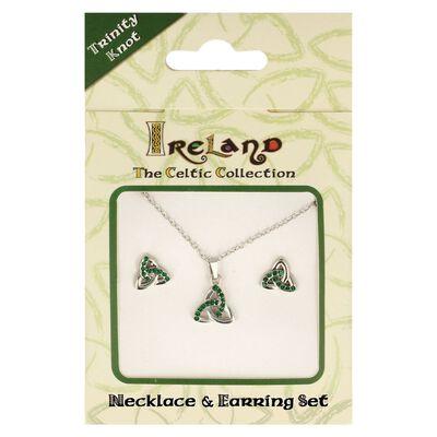 Ireland The Celtic Collection Green Diamante Trinity Knot Jewellery Set
