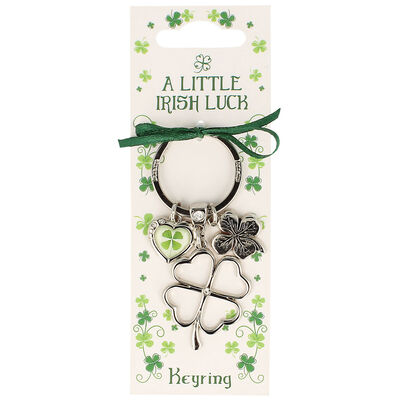 Silver Metal Keychain With Clover Charms And 'Irish Luck' Text Design