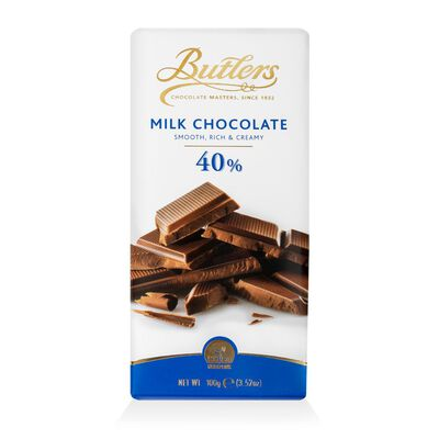 Butlers Smooth  Rich and Creamy 40% Milk Chocolate Bar  100G