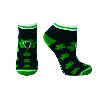 Black Guinness Ankle Style Socks With Green Shamrock Print