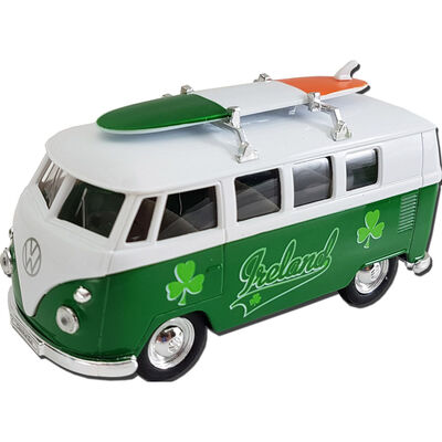 1963 Volkswagen T1 Model Bus with Ireland Design and a Surfboard on the Roof