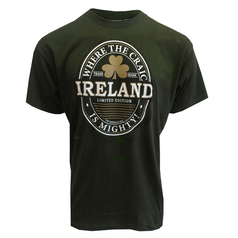 T-Shirt With Ireland Craic Is Mighty Print, Bottle Green Colour
