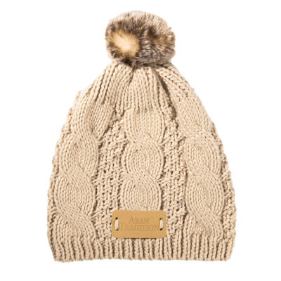 Kids Knit Style Aran Traditions Cable Knit Tammy Bobble Hat, Oatmeal Colour