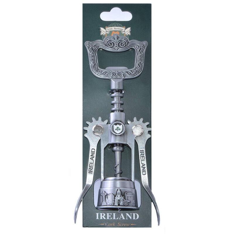 Metal Corkscrew With Ireland Crest And Symbols